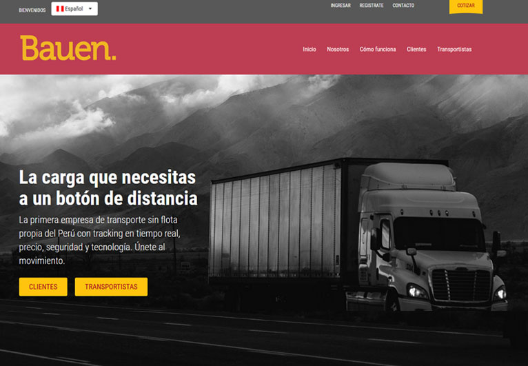 Card image of a website of a Peru based transport company - Bauen