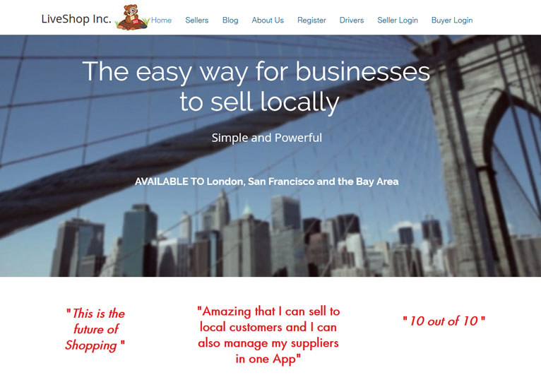 Card image of an online marketplace website - LiveShop Inc