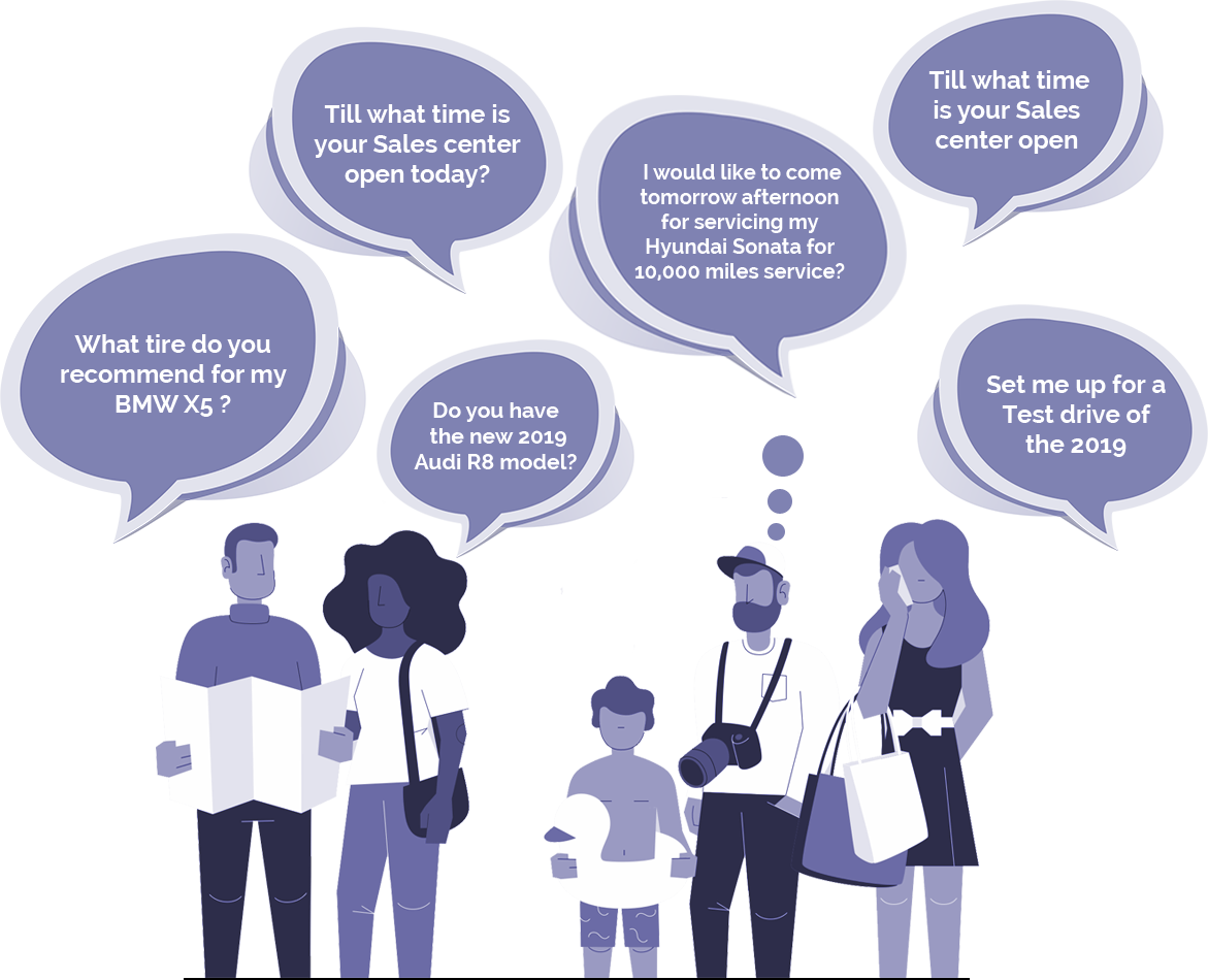 Card image for showing customer conversation with a car dealer
