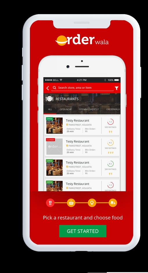 On-demand restaurant food delivery mobile app design of Orderwala